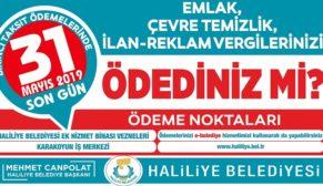Haliliye Belediyesinden hatırlatma: son gün 31 mayıs