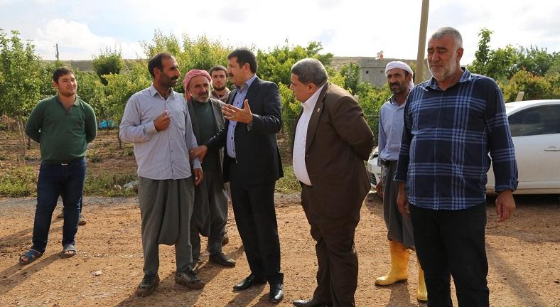 Ekinci selden zarar gören mahalleleri ziyaret etti