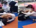 Kızlar saç saça baş başa kavga etti