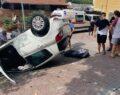 Otomobil takla atarak 20 metre sürüklendi