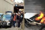 Zincirleme kazada polis aracı yandı