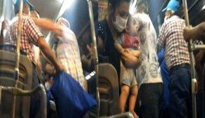 Minibüste yaşlıların maske kavgası