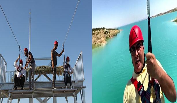 Atatürk Barajı'nda zipline heyecanı
