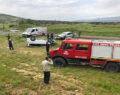Trafik kazası araç tarlaya uçtu