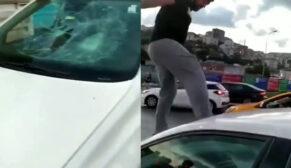 Trafikte kadın sürücüye dehşeti yaşattı