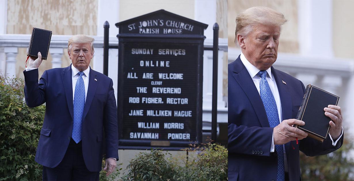 Trump elinde incil alarak poz verdi