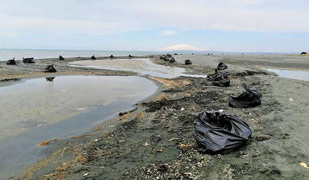 Sahilden 100 ton  çöp toplandı