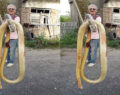 Torunlarına saldıran 4 metrelik dev yılanı öldürdü