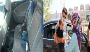 Ailesinin arabada bıraktığı çocuğu vatandaşlar kurtardı