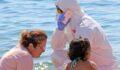 Sahilde ortalığı birbirine katan kadının Covid-19 testi pozitif çıktı