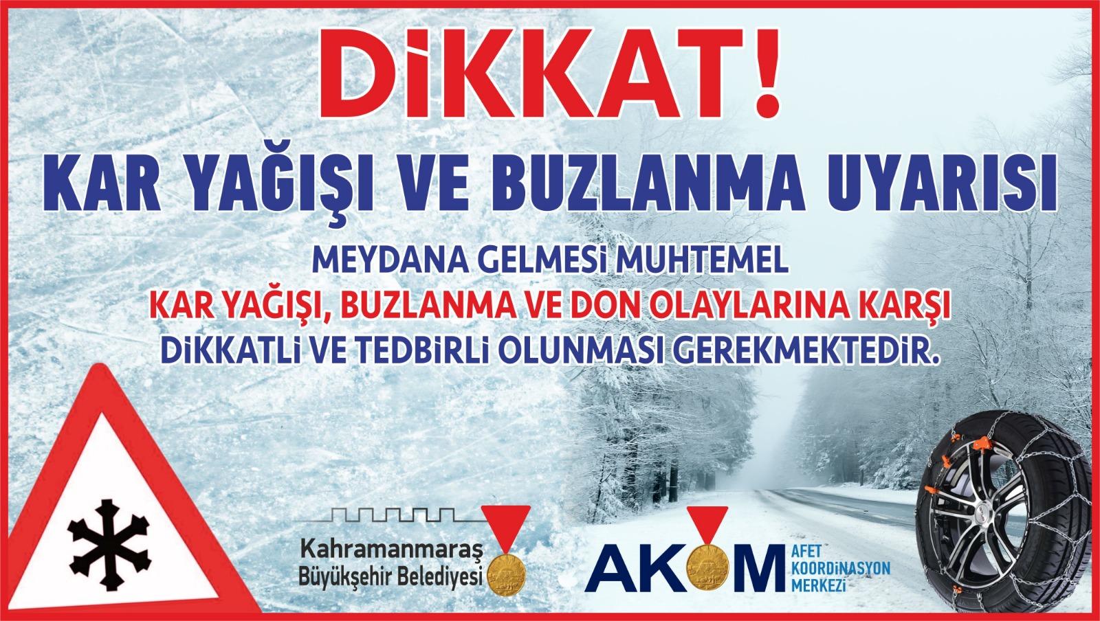 Akom'dan kar yağışı, buzlanma ve don olayı uyarısı