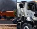 Diyarbakır-Şanlıurfa karayolunda temizlik aracı yandı