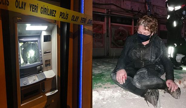 Cinnet geçirerek ATM'lere saldıran kadın gözaltına alındı