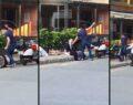 Silahlı bir şahıs, sokak ortasında annesini darp etti