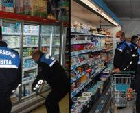 Zabıtalardan marketlerde gıda denetimi