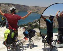 Bisikletle dünya turu yapan Avrupalılar Halfeti'ye geldi
