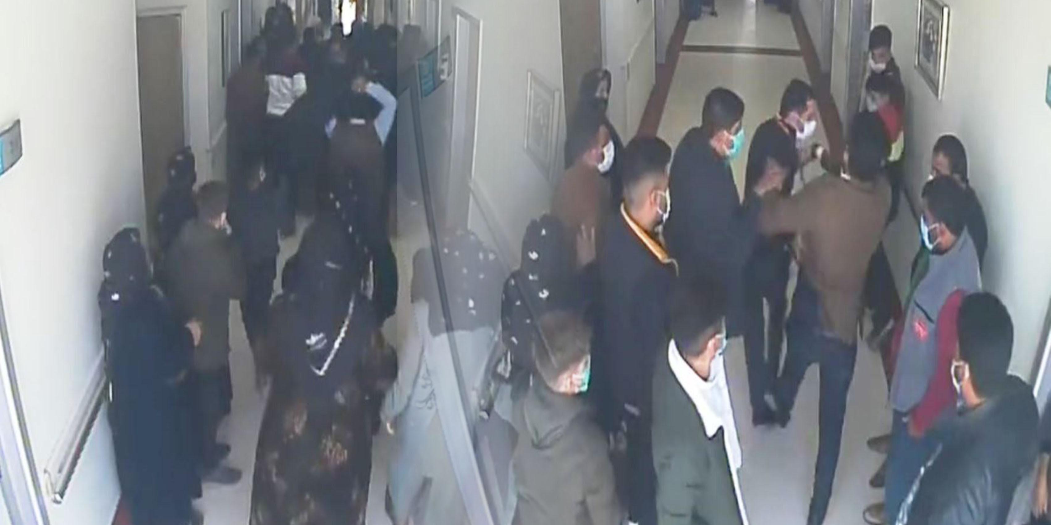 Hastanede saldırı anı kamerada