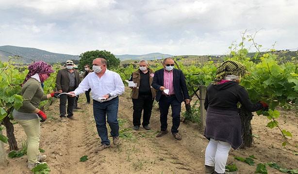 Tarım işçilerine maske dağıtıldı