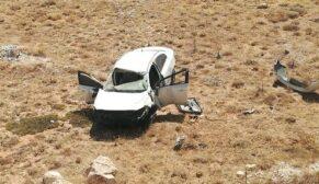 Aynı yerde 3.kaza otomobil şarampole uçtu