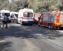 İşçi minibüsü devrildi: 1ölü, 34 yaralı