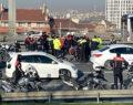 Kaza geçiren polisin yardımına meslektaşları koştu