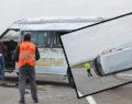 İşçileri taşıyan minibüs kaza yaptı: :Yaralılar var