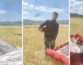 Paraşütçü ekili tarlaya indi: Çiftçinin sözleri gülmekten kırdı geçirdi