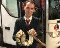 Yolcu otobüsünde Piton yılanı paniğe neden oldu