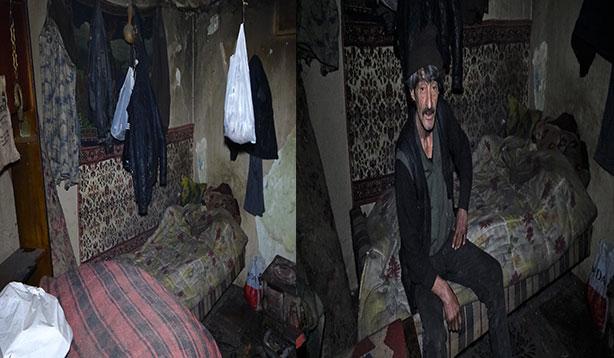 Yaşlı adam kaldığı virane evde yardım bekliyor