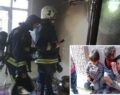 Yangında mahsur kalan çocukları anneleri kurtardı
