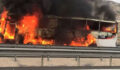 Şanlıurfa'da otobüsü alev alev yandı
