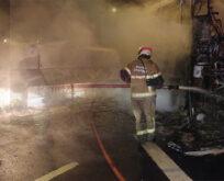 Yolcu otobüsü alev alev yandı, facianın eşiğinden dönüldü