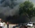 Hastane önünde yangın paniği